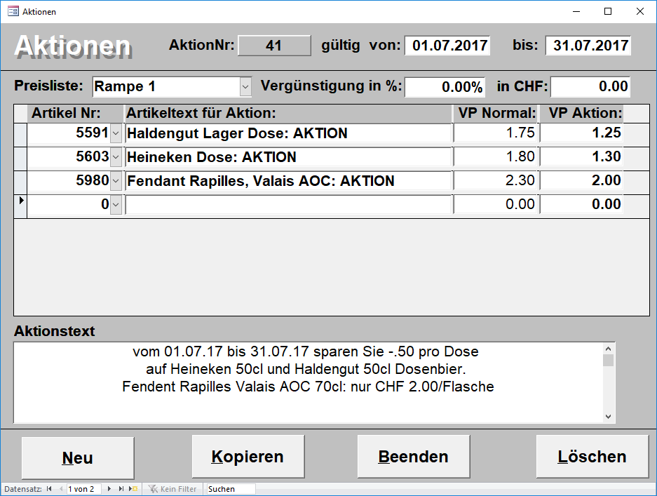 PCDrinkSoft Aktionen