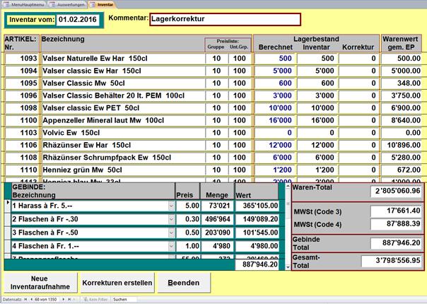 PCDrinkSoft Inventar Bestandeskorrektur