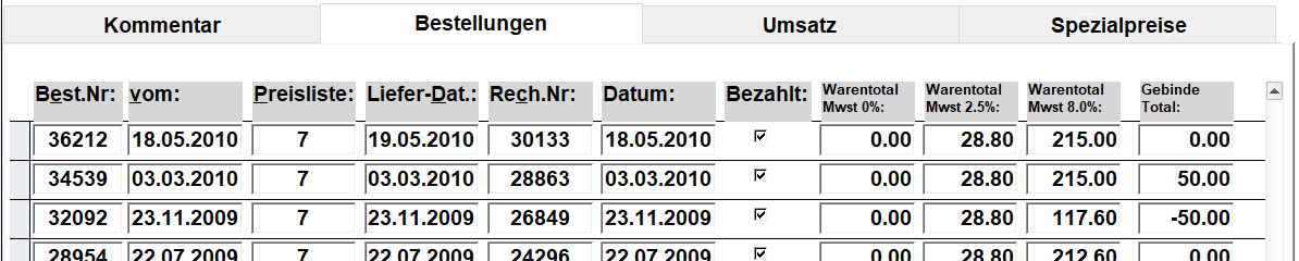 PCDrinkSoft Kunden Bestellungen