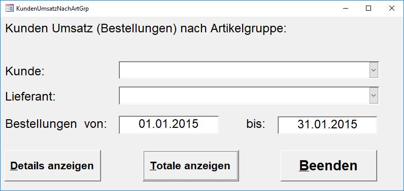 PCDrinkSoft Kunden Umsatz Abfrage