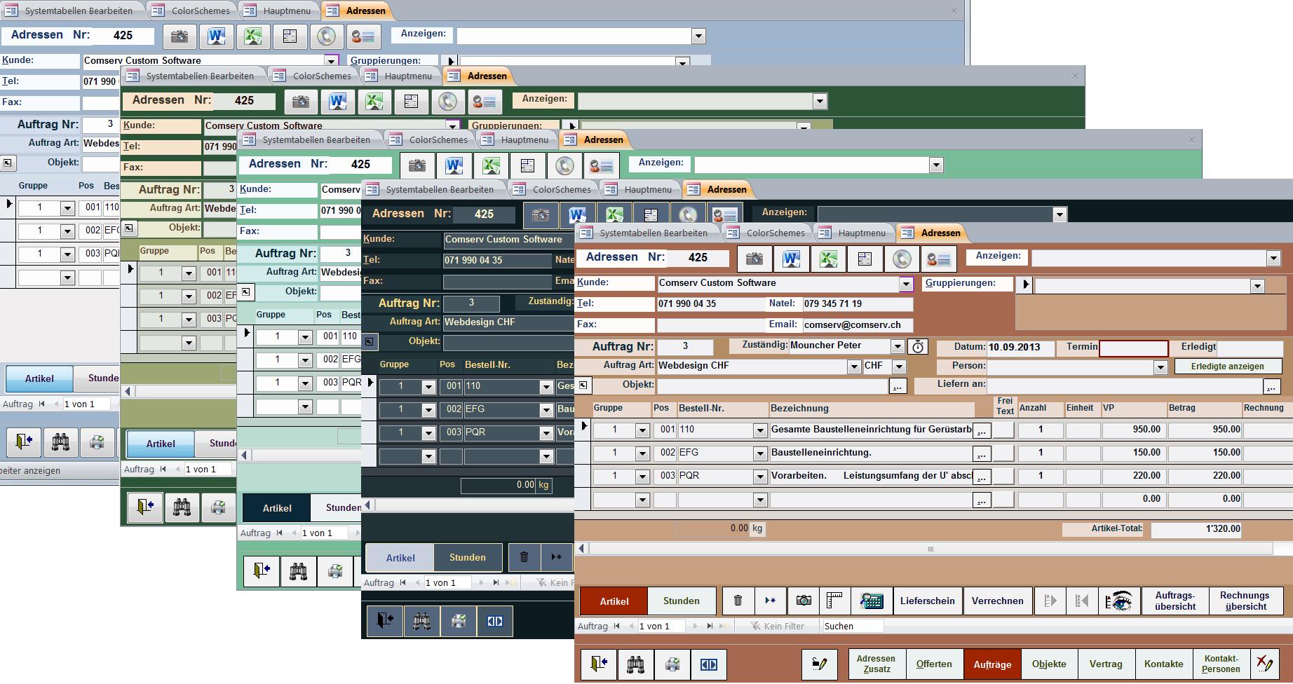 ComSell Auftragsbearbeitung - Ihre individuelle Arbeitsoberfläche